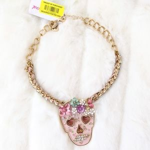 Betsey Johnson Opulent Floral Pink Skull Necklace